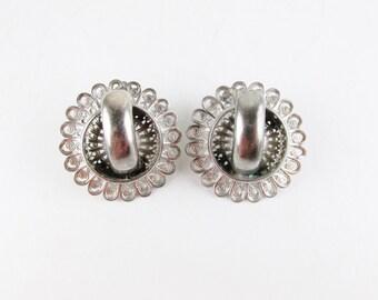 Vintage Silver Tone Filigree Earrings, Screw Back Earrings