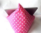 iPad Nook Kindle Pillow Stand in Pink Dots