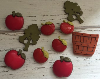 """Apple Buttons, """"Apple Pickin"""" Themed Novelty Button Package by Buttons Galore Style 4615, Apples, Tree, Bushel Baskets, Sewing, Crafting"""