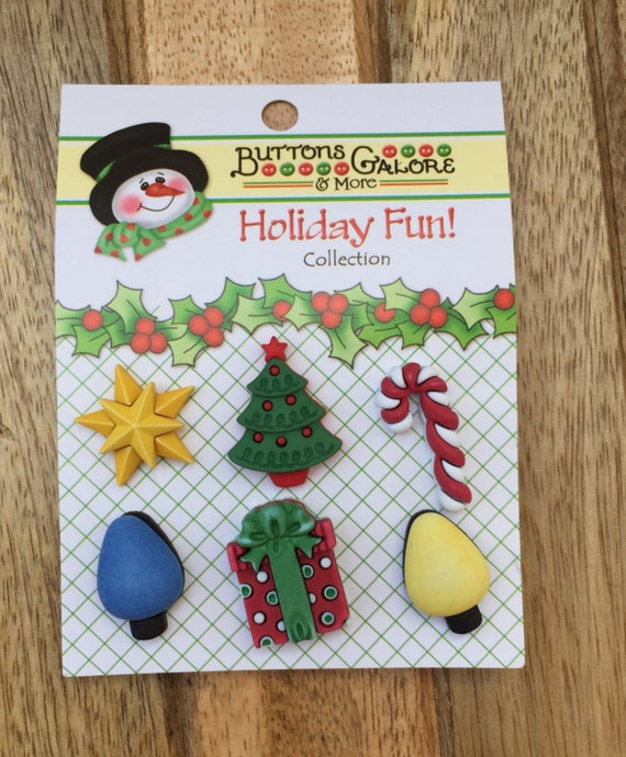 """Holiday Buttons, Christmas Tree, Star, Candy, Lights & Present, Novelty Buttons by Buttons Galore, """"Good Tidings"""", Holiday Fun Collection"""