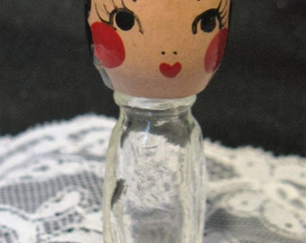 Vintage Wood Painted Face Top Glass Perfume Bottle
