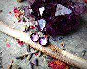Twilight Sky - Sterling Silver 5mm African Amethyst Post Earrings - Stud - Boho - Bohemian - Purple -Gemstone - Crystal