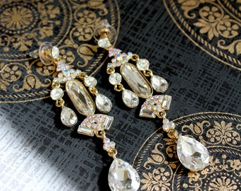 Vintage Chandlier crystal diamond post dramatic dangle earrings (found jewelry) Statement bridal jewelry wedding,ballroom, jewel collection