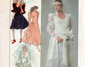 1980s Long Sleeve Wedding Gown & Bridesmaids Dress Pattern - Vintage Simplicity 8414 - Bust 32 1/2