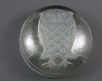 Goebel Frosted Owl Glass Paperweight