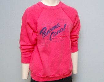 Vintage 1980's Hot Pink Panama Canal T.S.S. Fairwind Cruise Sweatshirt