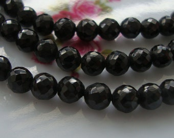 "Half strand, 7"" strand, 5 mm, AAA Black Shinny Spinel Micro Faceted Round beads"