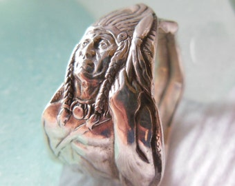 Antique Spoon Ring  Sterling Silver  American Indian   Size 7