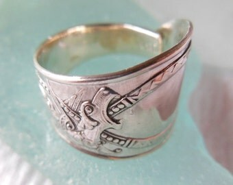 Antique Spoon Ring  Dragon Viking  Celtic  Sterling Silver     Size 4.75