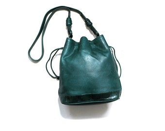Vintage Bucket Bag / Emerald Leather Bucket Bag / Drawstring Purse