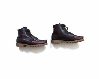 Leather Ankle Boots 10 / Oxblood Leather Ankle Boots / Buckle Boots / Hiking Boots