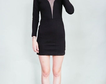 Moonsuit - Sexy little black dress with moon and sheer inserts -