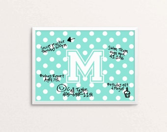 Customized Dry Erase Board Printable-DIY-Personalized Dry Erase Board Printable-Monogram Dry Erase-Teen Room Organization-Command Center