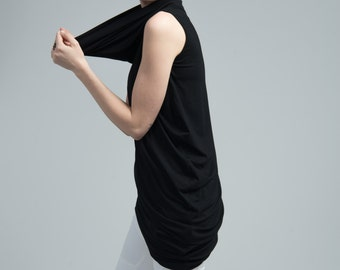 NEW Sleeveless Top / Black Asymmetric Blouse / Black Top / Oversize Party Top / Casual Tunic Top / marcellamoda - MB616