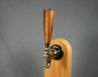 Wood Beer Tap Handle - Black Walnut and Tiger Maple - 4 inches tall - Made to Order