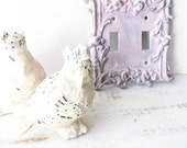 Vintage Ornate Light Switch Cover. Shabby Pink Grey French Chic Style. MidCentury Brass Double Wall SwitchPlate. ALtered Eco Shabby Cottage