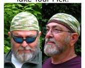 Mens Cotton Chemo Cooling Cap Crocheted in Woodland + Optional Chocolate Band