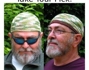 Mens Cotton Chemo Cooling Cap™ Crocheted in Woodland + Optional Chocolate Band