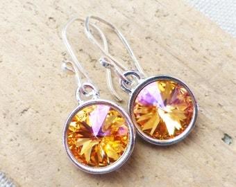 Swarovski Earrings, Orange, Yellow, Magenta, Crystal Earrings, Crystal Rivoli Round Earrings, Sterling Silver Earrings, Sunset Earrings