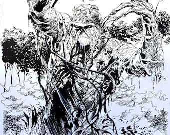 Swamp Thing super-detailed original ink drawing by Steve Lieber