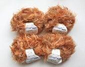 GGH Apart Color, orange tan brown cream variegated yarn, 4 skeins lot polyamid nylon yarn, destash eyelash novelty yarn