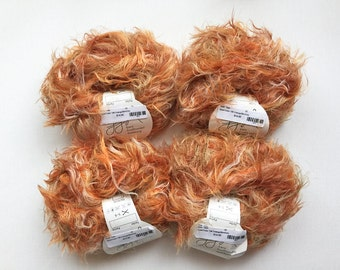 GGH Apart Color, orange tan brown cream variegated yarn, 4 skeins lot polyamid nylon yarn, destash eyelash novelty yarn