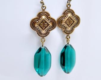Long Teal Earrings, Antique Brass Quatrefoil Earrings, Teal Blue Earings, Blue Green, Victorian Earrings, Teal Jewelry, Floral Earrings