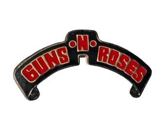 GUNS N ROSES vintage enamel pin heavy metal jacket 1980s axl rose slash