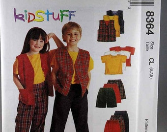 McCall's 8364, Girls' and Boys' Vest, T-Shirt, Pull-On Pants and Shorts Sewing Pattern, Sizes 6, 7, 8, Uncut