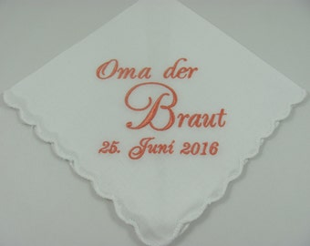 Personalized - Oma der Braut - Embroidered - Wedding Handkerchief - Wedding Gift -  Simply Sweet Hankies