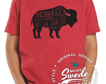 Youth Nebraska Buffalo T-shirt - Nebraska buffalo, bison kids t-shirt