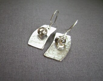 Smoky Quartz, Silver Earrings, Wire Wrapped, Bar Earrings, Geometric Earrings, Handmade Jewelry, Silver Filled, Curved Rectangle, 993
