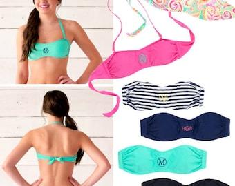 monogrammed bandeau swim top, SALE, bathing suit top