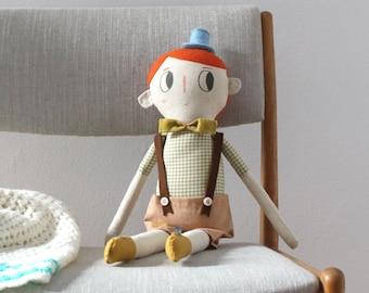 Heirloom Cloth Rag Doll Boy OOAK Soft Sculpture Art Doll