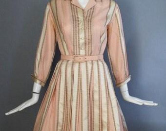 1950s MISS SERBIN cupcake pink damask stripe full circle skirt shirt dress cotton spring vintage w / belt 50s