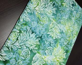 Turquoise Batik Placemats  - Reversible Placemats - Heat Resistant Placemats - Blue Green Placemats - Floral Tropical Placemats - Set of 2
