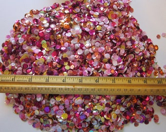 vintage sequin mix - 1 CUP - PiNK, YELLOW, and ORANGE mix - cup sequins, assorted colors