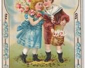 Birthday Greetings - Antique Postcard - Birthday Postcards, Birthday Cards, Children, Forget-Me-Nots, Friendship, Paper, Ephemera