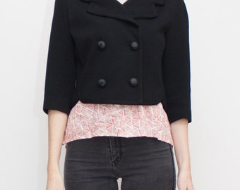 1960s Kimberly 3/4 Length Sleeve Double Breasted Black Wool Jacket