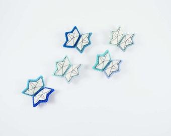 Tiny Origami Boat Felt Brooch / Mini Origami Boat Felt Pin / Blue Boat Felt Brooch / Japanese Symbol Brooch / Origami Enthusiast Pin