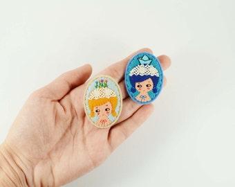 53% SALE Imaginary Girl Felt Brooch / Miss Garden Felt Brooch / Miss Origami Felt Pin / Miniature Portrait Felt Brooch / Lace Felt Girl Pin