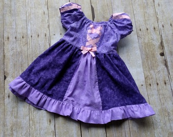 Little Girls Rapunzel Dress - Handmade- Sizes from  6 months  to 8