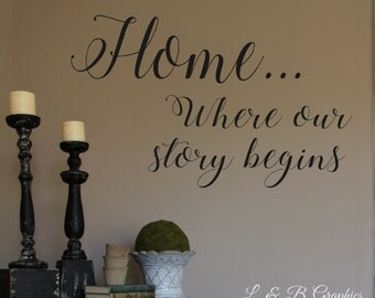 Vinyl Wall Decal- Home Where Our Story Begins-#3- Wall Quotes- Love quotes- Vinyl- Welcome Quotes- Home Decor- Story Begins