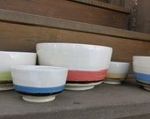 Ceramic Nesting Mixing Bowls with Handpainted Botanicals and Bands Porcelain for the Home, Handmade Artisan Pottery by Licia Lucas Pfadt