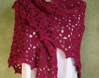 Crocheted Lace Shawl Shoulder Wrap Cherry Acrylic Yarn Handmade by Lynne