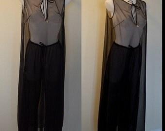 Vintage 1970s Kaymar Black Sheer Chiffon Nightgown with Pants, Kaymar, 1970s Lingerie, Black Chiffon Nightgown, Nightgown and PJ Pants