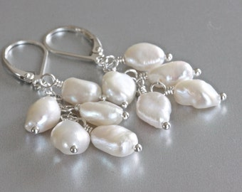 Pearl Cluster Earrings, Freshwater Pearl Earrings, Keshi Pearl Earrings, White Pearl Earrings, Wire Wrapped Jewelry, Sterling Silver Jewelry