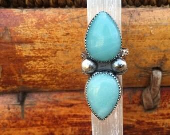 Amazonite Stone Ring/ Sterling Silver Ring/ Turquoise Ring/ Size 7 Ring/ Natural Stone Ring/ Teal Ring/ Boho Ring/ Multi Stone Ring/