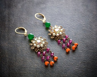 India Pink and Orange Crystal Chandelier Earrings with Vintage Rhinestone Rosette and Jade Green Beads