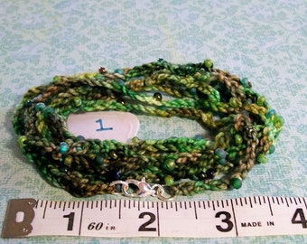 Crochet Beaded Infinity Versatile, Bracelet ANKLET Necklace CHOCKER, Wrap Around Natural Fiber Chain, Long Endless,  greens browns CAMO